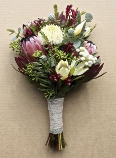 Waratah season is short and sweet. They are very much a spring flower. Swallows Nest Farm Waratah Bouquet This year has been unusu. Wedding Bouquets, Wedding Flowers, Australian Native Flowers, Spring Flowers, Floral Arrangements, Swallows, Floral Wreath, Wreaths, Nest