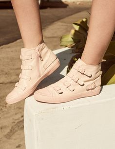 8abccefe2b2ae VENUS Buckle Trainers in Pastel Pink Leather from ASH Official SS18  Collection is currently on #. Ash Footwear