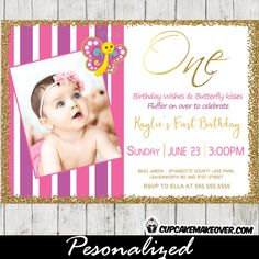 Beautiful first birthday invitations featuring the sweetest butterfly fluttering above your little girl's picture against a pink and purple striped backdrop
