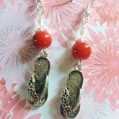 415 - boucles d'oreilles tongs et perles rouges