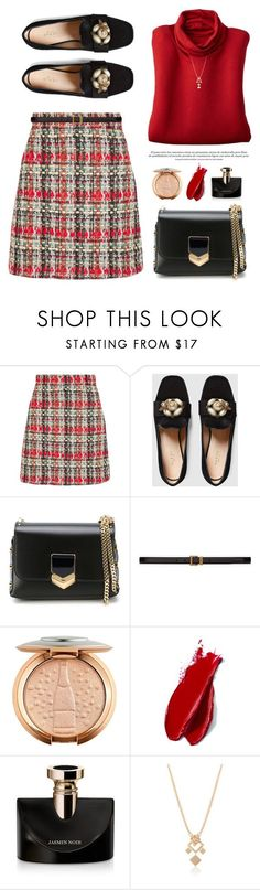 """""""OOTD"""" by yexyka ❤ liked on Polyvore featuring Gucci, Jimmy Choo, Yves Saint Laurent, Balmain, Bulgari, contestentry and polyPresents"""