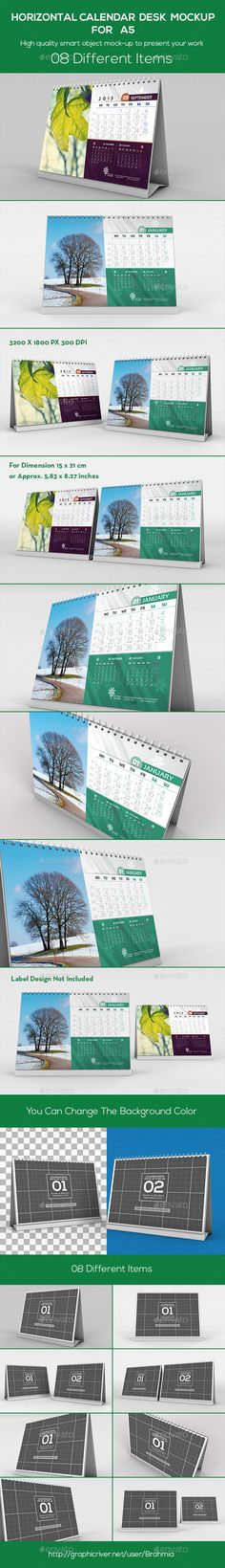 Horizontal Calendar Desk Mockup For A5 | Download: http://graphicriver.net/item/horizontal-calendar-desk-mockup-for-a5/9369043?ref=ksioks