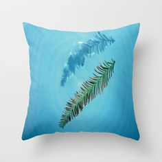 Leaf on Water Throw Pillow by Celia Dias - $20.00