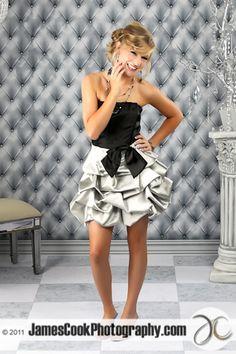Caitlin -Silver & Black Prom Dress
