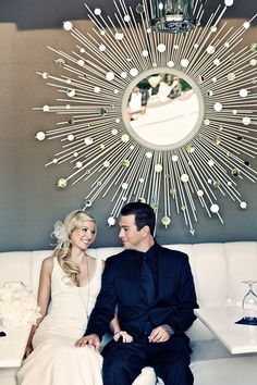 "White and Gold Wedding. Rent gorgeous mirrors to add ""wow"" factor to your wedding site entrance, in lounge areas, or even behind your bar or your cake table! Large Framed Mirrors, Wall Mirrors, Starburst Mirror, Mod Wedding, Wedding Gold, Wedding Tips, Mirror Mosaic, Lounge Design, Clock Decor"