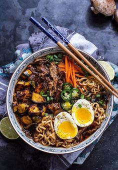 Crockpot Crispy Caramelized Pork Ramen Noodle Soup With Curry Roasted Acorn Squash New Year's Eve Dinner Recipe