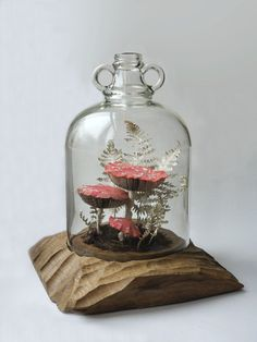 Fly Agaric Mushrooms and Fern recycled paper and textile sculpture by artist Kate Kato - aka Kasasagi. (www.kasasagidesign.com)