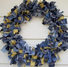 Rag Wreath - denim and homespun. Follow link to directions.