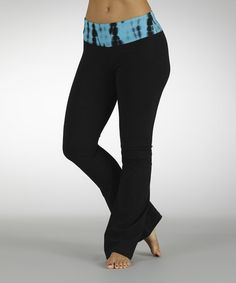 Take a look at this Electric Blue Short Circuit Flat-Waist Yoga Pants by Marika on #zulily today!