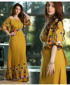 cute yellow house dress Arab Fashion, Muslim Fashion, Traditional Fashion, Traditional Dresses, Frock Patterns, Afghan Dresses, Kurti Designs Party Wear, Pakistani Dress Design, Caftan Dress