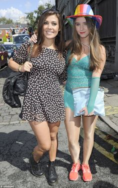 Party time! Kym Marsh (L) and Brooke Vincent (R) join in the fun as Gay Pride kicks off in Manchester on Saturday