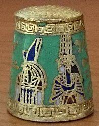 EGIPTO-CLOISONNE VERDE-ORUS Y NERFERTARI