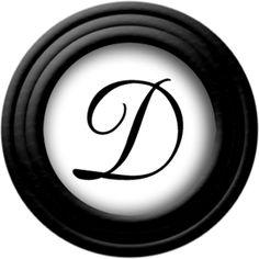 """Monogram """"D"""" * černé v černém rámečku."""