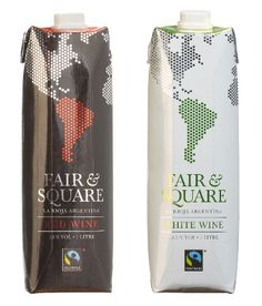 Fair & Square, a fairtrade wine range in lightweight, 100% recyclable, carton packaging (Tetra Prisma Aseptic).