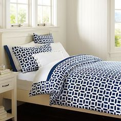 Peyton Duvet Cover + Sham, Royal Navy #pbteen Not really what she was talking about, but could really grow with her. Great with her green side table, could still incorporate her other colors. Similar duvets @ duvetdivas.com