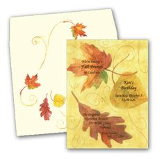 Dancing Leaves - This invitation is decorated with swirls from the autumn breeze and three colorful leaves being carried in its wake. Enjoy this invitation for Thanksgiving or any fall event! Includes the coordinating envelope show.