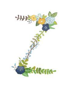 Z Floral Letter Illustration Typography Print от Makewells