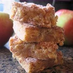 Apple Squares. Like a cross between snickerdoodles and apple pie. I substituted more apples for the walnuts. Also made a double-batch and put it in a 9x13 instead of a single in an 8x8, bake 30 min. I got lots of compliments and couldn't stop eating them myself... great for non-chocolate-lovers, goes well with hot apple cider.