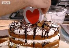 """Our wooden heart giving  decorative """"flavour"""" to this cake! www.fenalie.gr"""