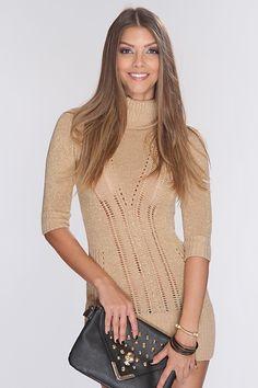Beige Open Knit Cutout Party Dress #amiclubwear