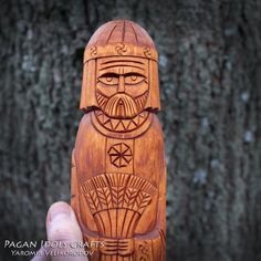 Yarilo is a carved wooden statue of a figure, the Slavic god of fertility, spring and the spring sun. Pagan Gods, Wooden Walking Sticks, Wooden Statues, Take Me Up, Handmade Decorations, Fertility, Wood Carving, Handmade Items, History
