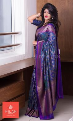 Banaras Saree from Milan Design Kochi #MilanDesignKochi #DesignerSaree #BanarasSaree #Kerala #Kochi #India South Indian Sarees, Indian Silk Sarees, Indian Designer Sarees, Indian Beauty Saree, Pure Silk Sarees, Indian Designer Wear, Tussar Silk Saree, Kanchipuram Saree, Trendy Sarees