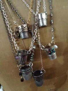 Antique thimbles as pendants