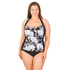4490d0a123f85 Penbrooke Women s Plus-Size Snowflower Halter Shirred Insert Tankini