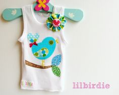 Items similar to Sweet Lil Birdie Baby Girls Tank Singlet Onesie All sizes Bird on a Branch on Etsy Baby Girl Newborn, Baby Girls, Little Girls, Applique Templates, Applique Patterns, Sewing Crafts, Sewing Projects, Tank Girl, Girly Outfits