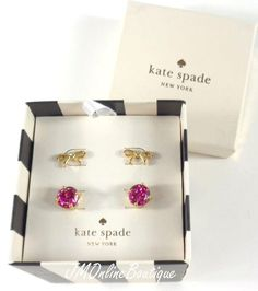 Kate Spade Glitter Pink & Bows Gold Tone Stud Two Earrings Box Set Pink Bows, Earring Box, Kate Spade Earrings, Pink Glitter, Tote Bag, Gold, Bags, Fashion, Handbags