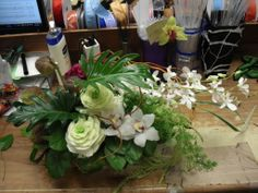 White tropical flower arrangement for wedding and events.
