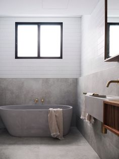 This European design polished concrete bathtub is pure luxury. Make a statement in your bathroom with this handmade piece of art.  The gentle slope of the curved back rest offers total comfort for your bathing experience. Concrete Basin - Concrete Bath - Australian Made - Architecturally Designed - Bathroom - Interior Design - Bathroom Renovation - Bathtub - Handmade - Concrete - Luxury Interiors - Architecture - Contemporary Bathroom - Modern Bathroom - @concretenation @made_homes Concrete Bathtub, Concrete Basin, Luxury Interior, Interior Styling, Interior Architecture, Contemporary Bathroom Designs, Bathroom Modern, Gray Bedroom Walls, Concrete Interiors
