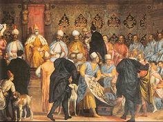 Shah Abbas the Great sent Ambassadors to many European countries during his time on the throne. This highly realistic fresco in the main palace in Venice depicts Doge Mariano Grimani receiving Persian Ambassadors in 1599 (978).
