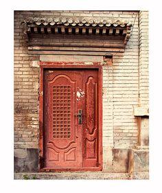 Door Photography, Rustic Decor, Red Door Photograph, Beijing China, architecture photography /urban city street, autumn art, travel photo
