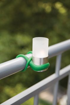 myBalconia BL089 Balcony tealight glass with silicone attachment loop for balcony railing.
