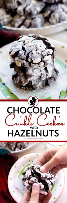 These Chocolate Crinkle Cookies with Hazelnuts are perfect for parties, potlucks, Christmas Bake Sales, and cookie exchanges! The chocolate and hazelnut flavor combination can't be beat! Grab the kids or grandkids, because they will LOVE mixing and rollin Top Recipes, Baking Recipes, Cookie Recipes, Snack Recipes, Dessert Recipes, Best Homemade Cookie Recipe, Homemade Cookies, Yummy Cookies, Chocolate Crinkle Cookies