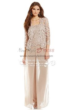Silver grey 3pc pantset for summer wedding mother of the for Grandmother dresses for summer wedding