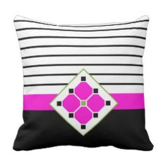 Geometric Flowers and Stripes Pillow in Fuchsia