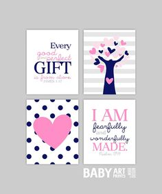 Pink and Navy Baby Girl Nursery art, Set of 4 8x10. Tree, Heart, Polka Dots, James 1 17, Psalm 139 14 ( S810017 ) on Etsy, $44.00
