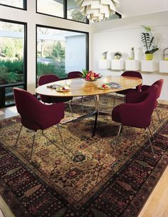 Modern Furniture With Oriental Rug mix vintage persian rug, leather club chairs | home | pinterest