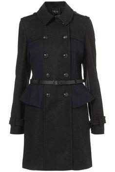 TopShop burberry inspired peplum military coat