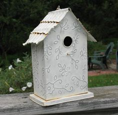 Tin Birdhouse Shabby Chic Garden Decor by HeronsTreasures on Etsy, $15.00