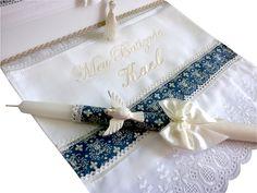 Vela decorada batismo e toalha com nome   Rosi Pessatti!   Elo7