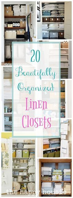 20 Beautifully Organized Linen Closets - I love an organized linen closet, it just makes me happy!
