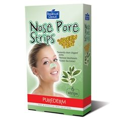 "Purederm Botanical Choice Nose Pore Strips ""Green Tea"" are one-step cleansing treatment specifically designed to unclog pores and lift away unwanted blackheads. The strip removes dirt and oil which clog pores, leaving your skin clear and smooth. With continued use of Nose Pore Strips works to tighten pores, keeping skin looking and feeling fresh."
