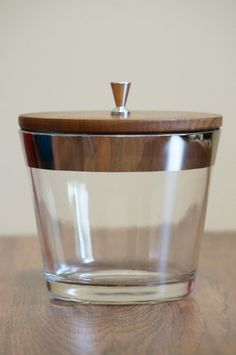 Dorothy Thorpe Styled Mad Men Teak and Glass Silver Rimmed Ice Bucket With Stainless Steel Handle
