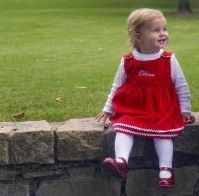 "Monogrammed Cordouroy ""Bon Bon"" Dress in Red"
