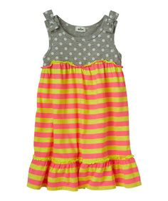 Another great find on #zulily! Heather Gray & Yellow Stripe Dress - Infant, Toddler & Girls #zulilyfinds