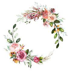 credit to artist credit to artist Frame Floral, Flower Frame, Flower Art, Illustration Blume, Botanical Illustration, Watercolor Flower Wreath, Floral Watercolor, Motif Floral, Floral Border