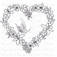 Floral Heat by Andrea Designs - Floral Heart - image no 66 by SheepSkiDesigns on Etsy Embroidery Hearts, Floral Embroidery Patterns, Hand Embroidery Designs, Flower Patterns, Flower Coloring Pages, Coloring Book Pages, Wreath Drawing, Printable Adult Coloring Pages, Copics